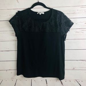 Rose & Olive Black Top with Floral Detail Size M